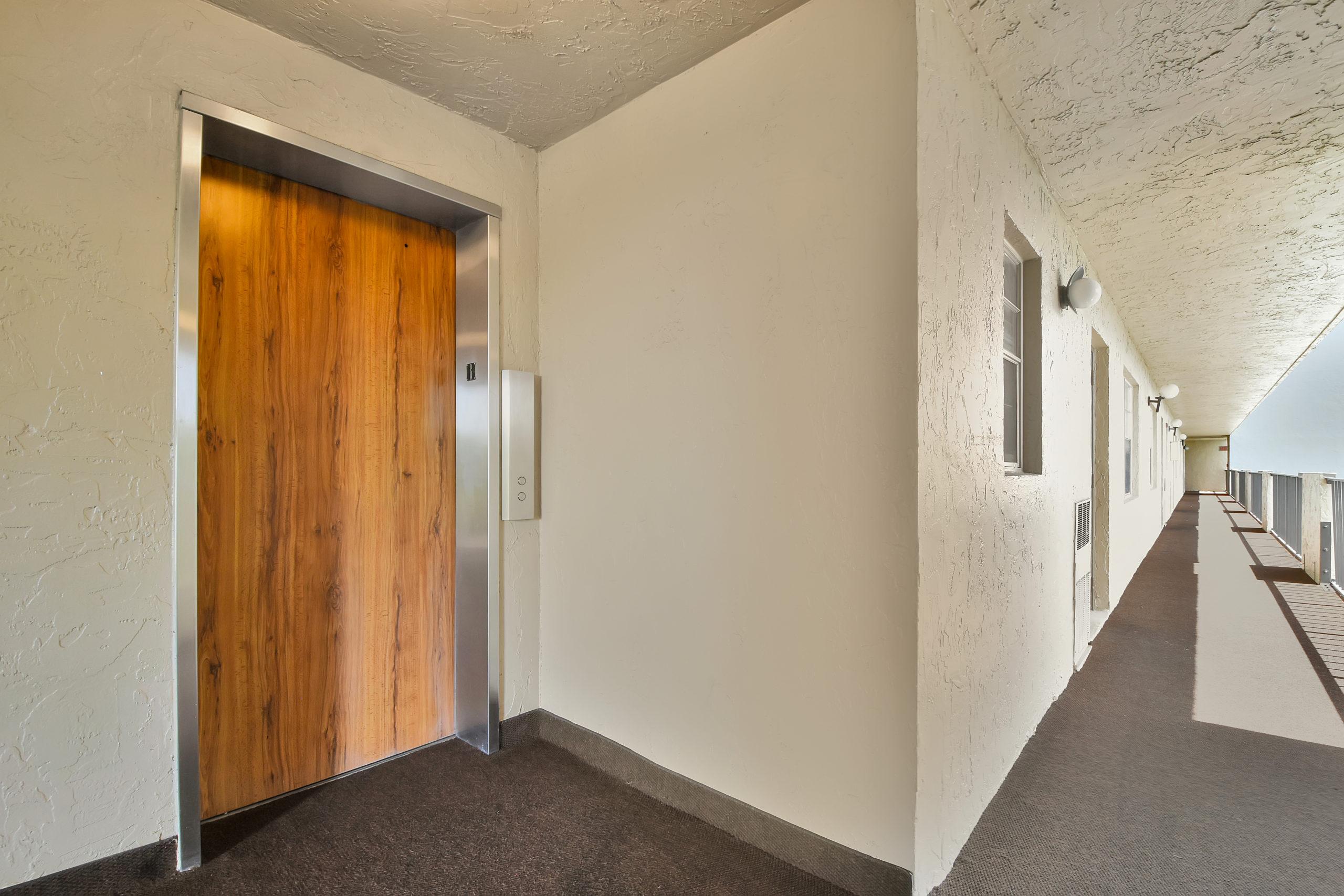 Elevator on 6th Floor of the Rolling Hills Condominium community in Davie, Fl