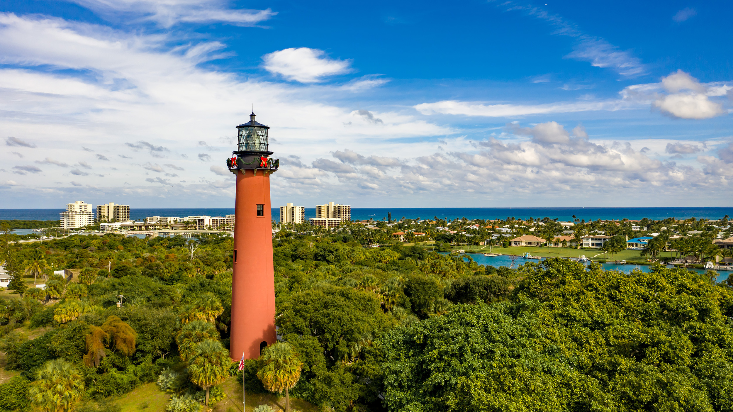 View of the Jupiter Inlet Lighthouse in Palm Beach County, Fl