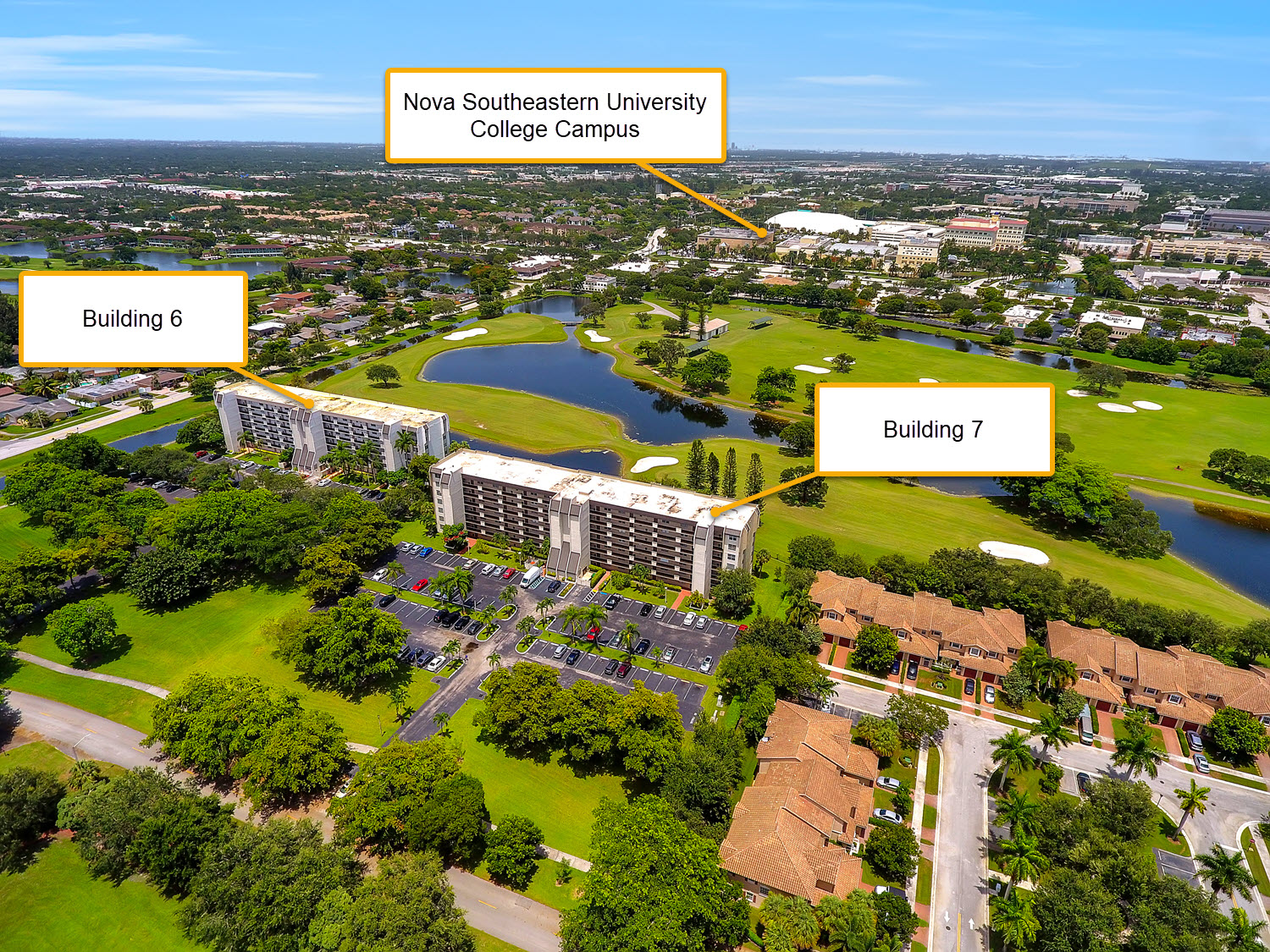 aerial with information showing buildings and nova southeastern university college campus in background near the rolling hills condominium community