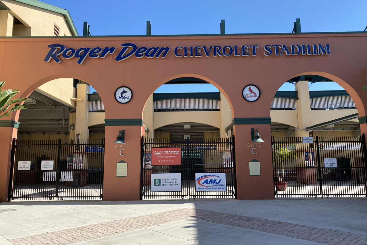 entrance into the roger dean stadium located in abacoa jupiter fl