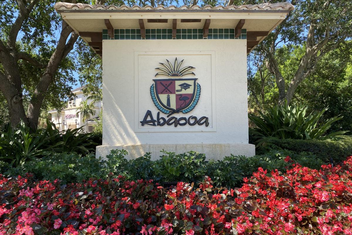 entrance sign leading into abacoa jupiter fl