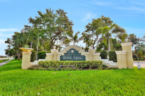 entrance sign leading into royal grand condominium davie florida
