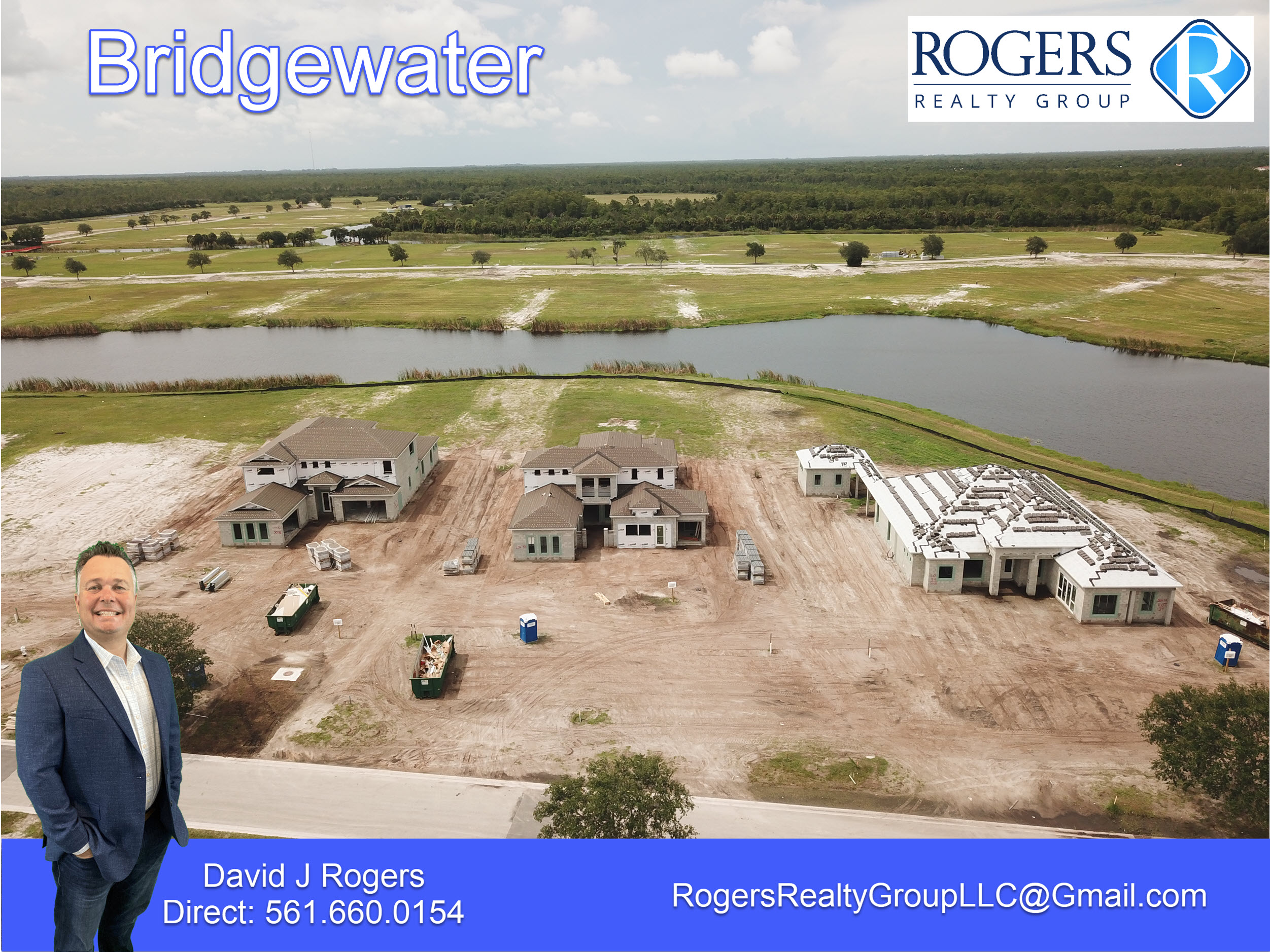 drone view of 3 homes under construction in the new bridgewater community in jupiter fl