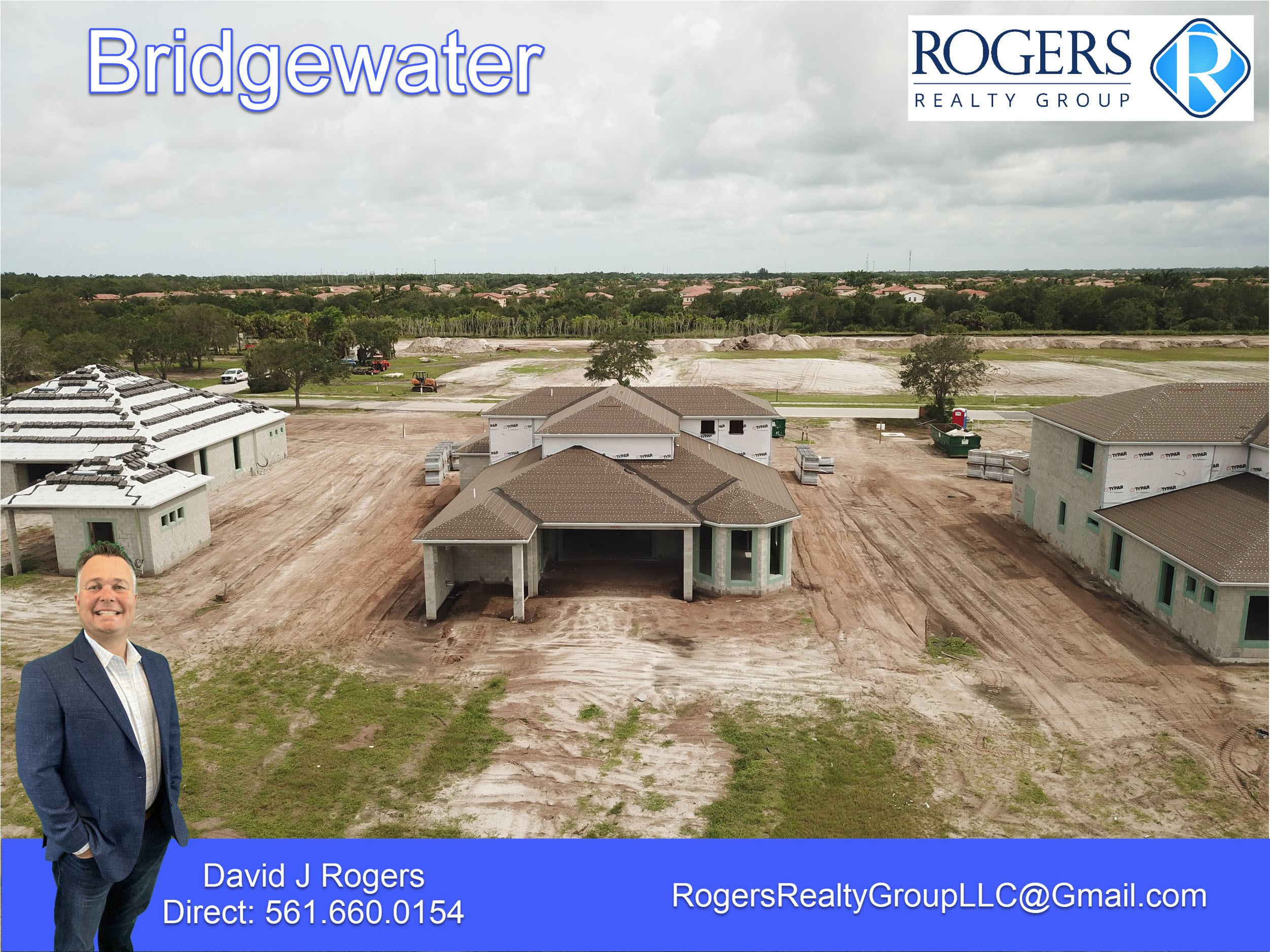 rear exterior aerial view of home being built in brigewater jupiter florida on lot 33